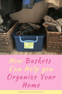 2 wicker baskets and 1 plastic tote full of shoes on a tile floor