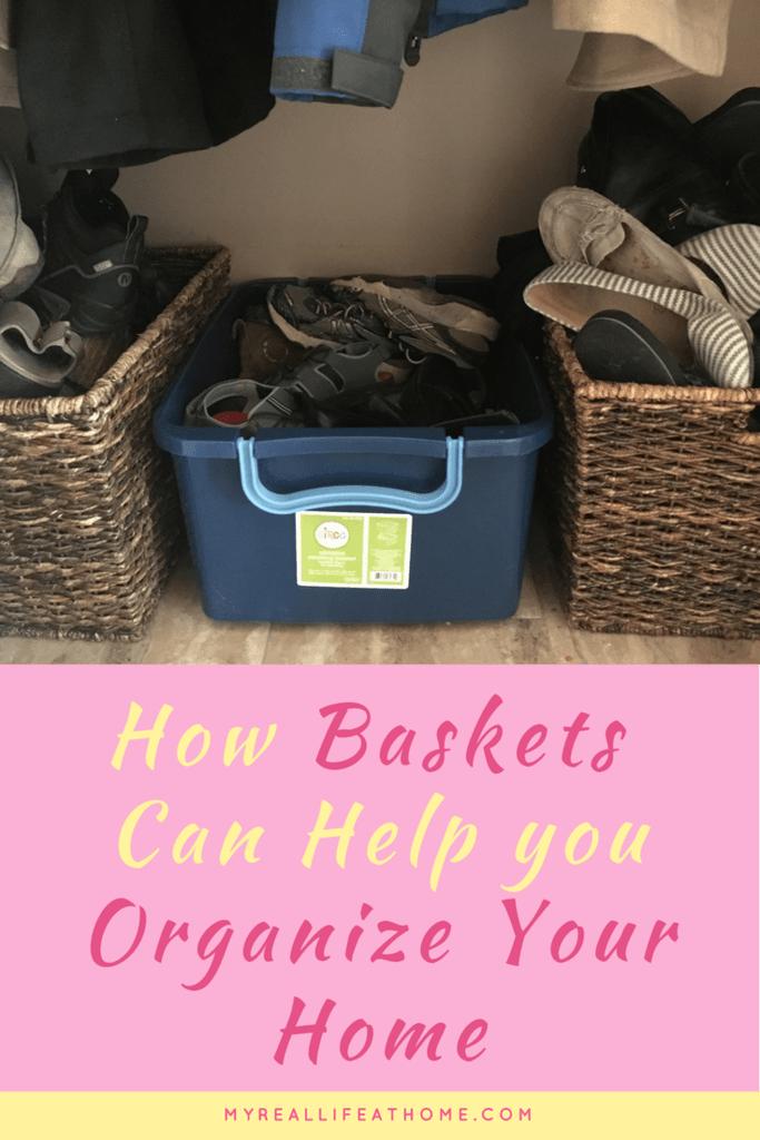 Baskets work great for shoe storage #organizeshoes #ilovebaskets #usebasketsforstorage