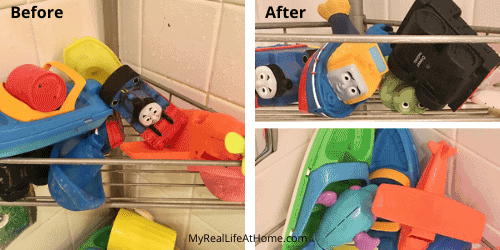 Bath toys in wire shelf in tub - dirty toys before and clean toys after