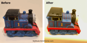 Blue Thomas the Train bath toy - dirty before and clean after