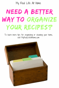 Brown wooden recipe organizer box