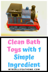 Clean Bath Toys with 1 Simple Ingredient with a clean Thomas the Train bath toy