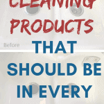 Title Cleaning Products That Should Be In Every Kitchen clean and dirty white porcelain sink in the background