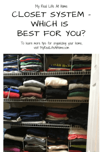Clothes folded on wire closet shelf system