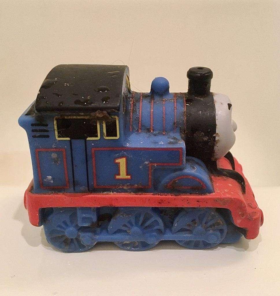 Dirty blue Thomas the Train bath toy