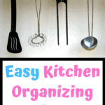 Kitchen Utensils hanging on silver bar