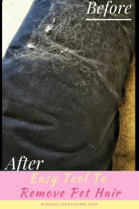 Before and After picture of dog bed with and without pet hair