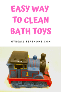 Easy Way To Clean Bath Toys with dirty Thomas the Train bath toy