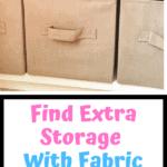 tan fabric bins on a white shelf