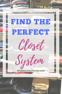 Title of Find the Perfect Closet System with closet shelves in background