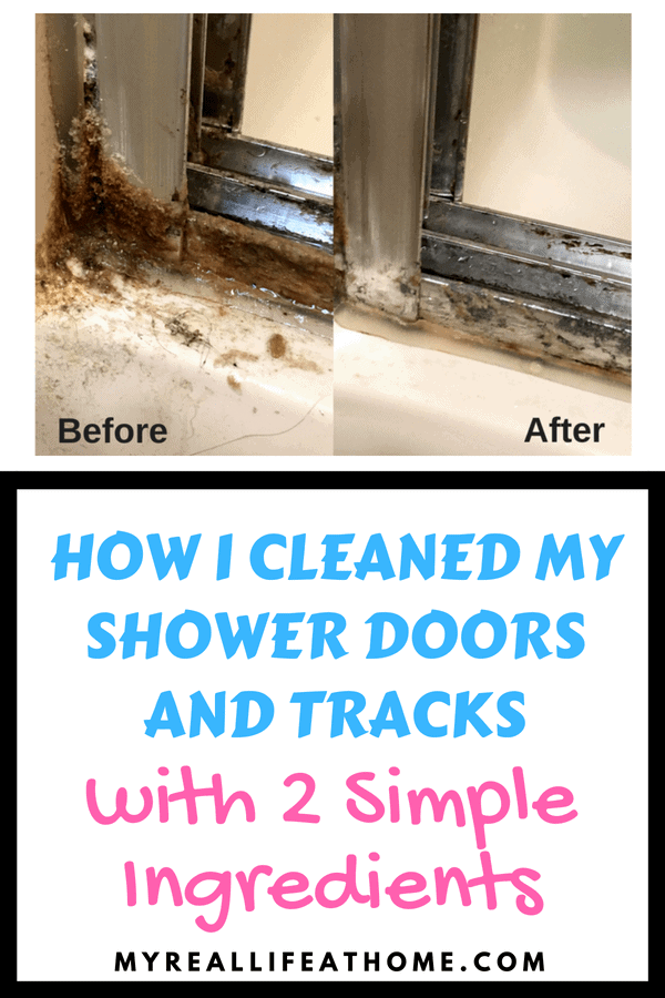 Do your shower doors look like mine did? I found a really easy solution. Check out my blog to see exactly how I cleaned my shower doors and tracks with 2 simple ingredients you probably already have in your home #cleaning #cleaninghacks #bakingsoda #vinegar #bathroom #shower