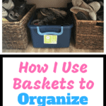 2 wicker baskets, 1 plastic basket all filled with shoes