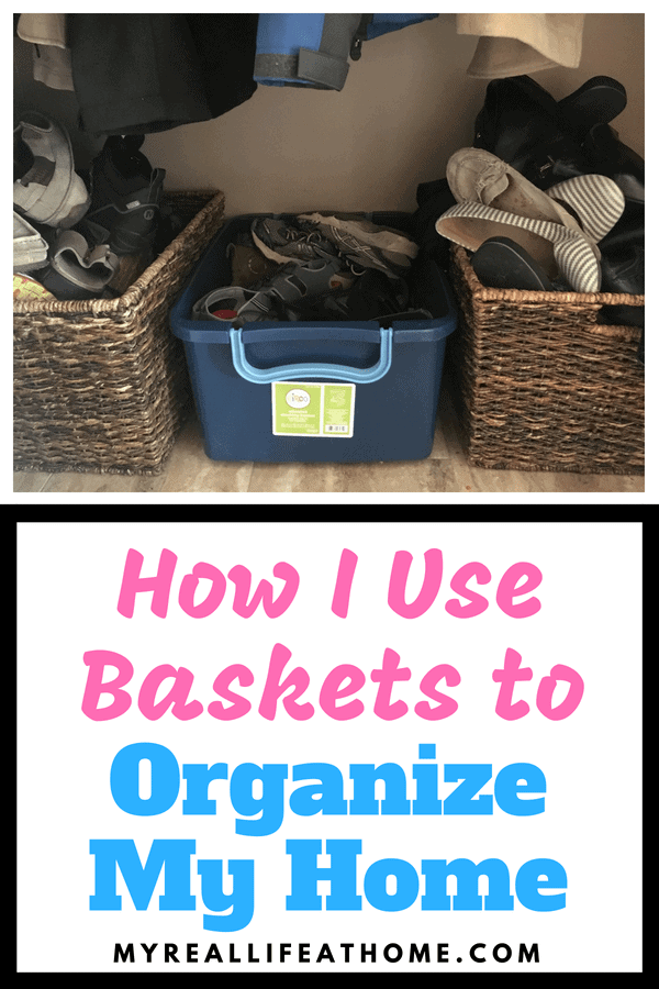 I love baskets! They are all over my home! Check out all the different ways you can use baskets to organize your home! #organizing #organizingtips #baskets #storage #howto