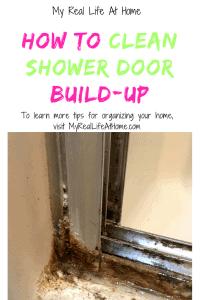 Bottom corner of dirty shower door