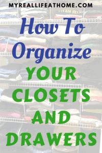 organized closet and clothes folded in a drawer