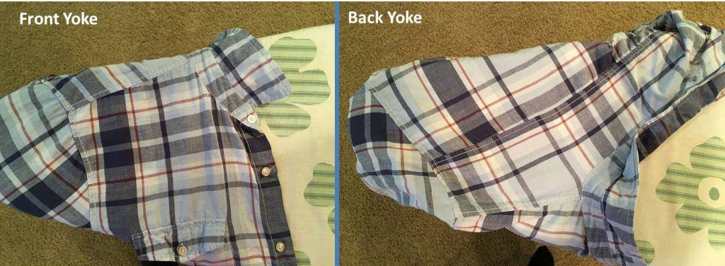 Plaid shirt on ironing board, front yoke picture and back yoke picture