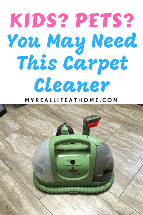 If you have kids or pets, you may need this carpet cleaner. Here is my honest review of the Bissell Green Machine. Psst...here is a hint, I love it! Check out my review to see why. #cleaning #carpetcleaner #carpetstains #bissellgreenmachine