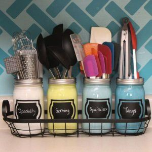mason jars painted for utensil storage