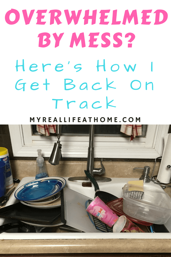Ever feel overwhelmed by mess? Do you feel stressed by your home? I'll admit it....been there, done that. Here are some tips I would love to share with you on how I get my home cleaning back on track. #cleaning #cleaninghacks #howto #messyhouse