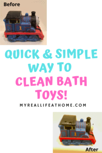 before and after pictures of a dirty bath toy train