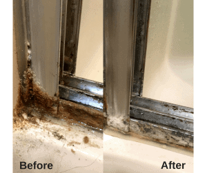 Before and after pictures of dirty bottom corner of shower door and tracks