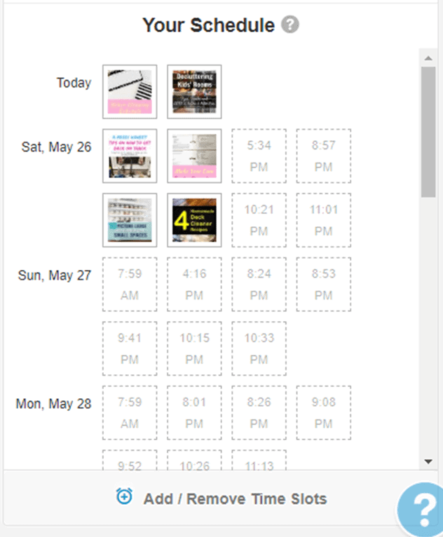Picture of a schedule on Tailwind