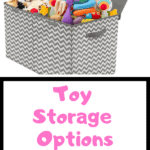 Chevron Fabric Bin overfilled with toys and stuffed animals