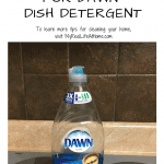 Bottle of blue Dawn Detergent sitting on stovetop