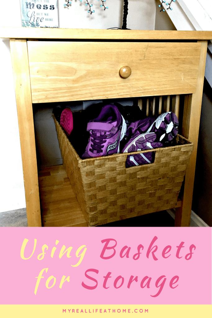 How to Use Baskets for Storage #ilovebaskets #basketorganization #shoestorage