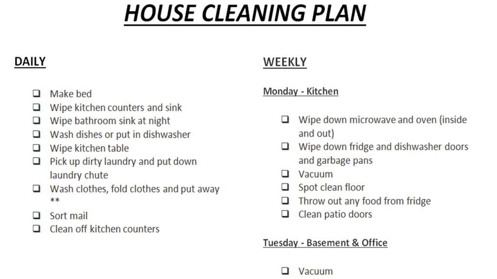 Cleaning Schedule Printable - customize to fit your needs #cleaningplan #housecleaningschedule #cleaningschedule