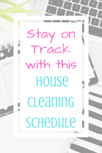 Title - Stay on track with this house cleaning schedule with calendar in the background