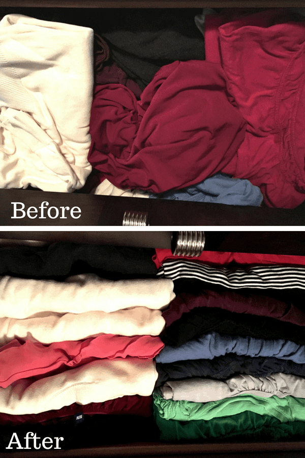 Before picture - messy clothes in a drawer After picture - same clothes folded neatly in the same drawer