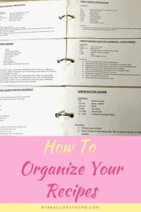 Open recipe binder showing 6 recipes