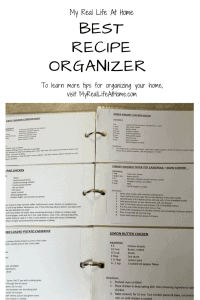 Open recipe binder showing 6 recipes