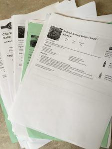 """Printed recipes on 8.5"""" x 11"""" paper"""