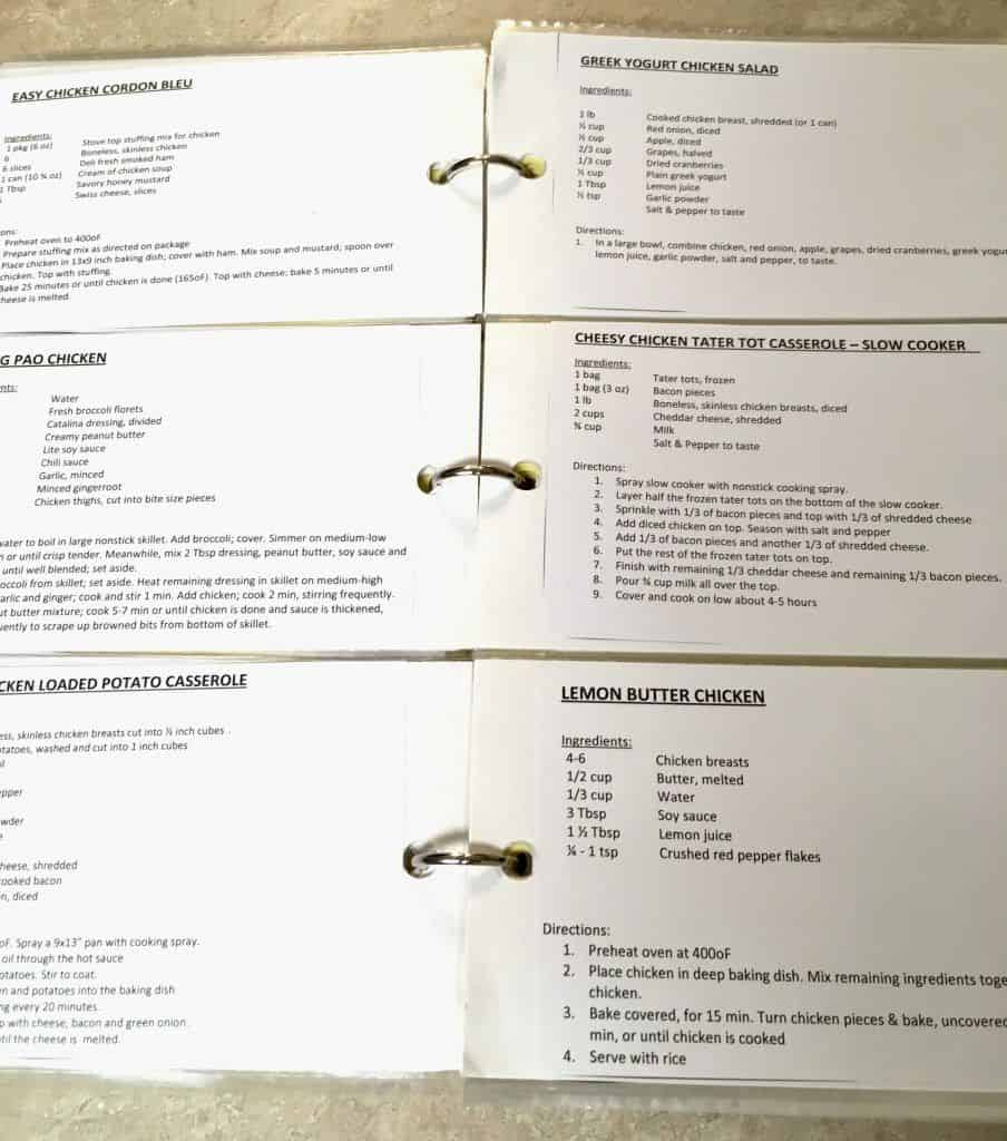 Open recipe binder showing 5 recipes