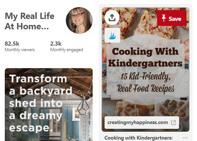 Snapshot of Pinterest page. Pinterest Post of Cooking with Kindergartners and Transform a backyard shed into a dreamy escape