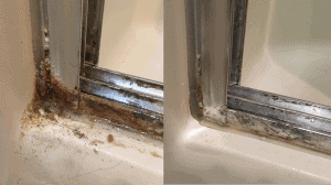Before and After pictures of the bottom corner of shower doors
