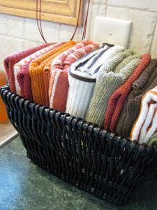 kitchen towels in a basket