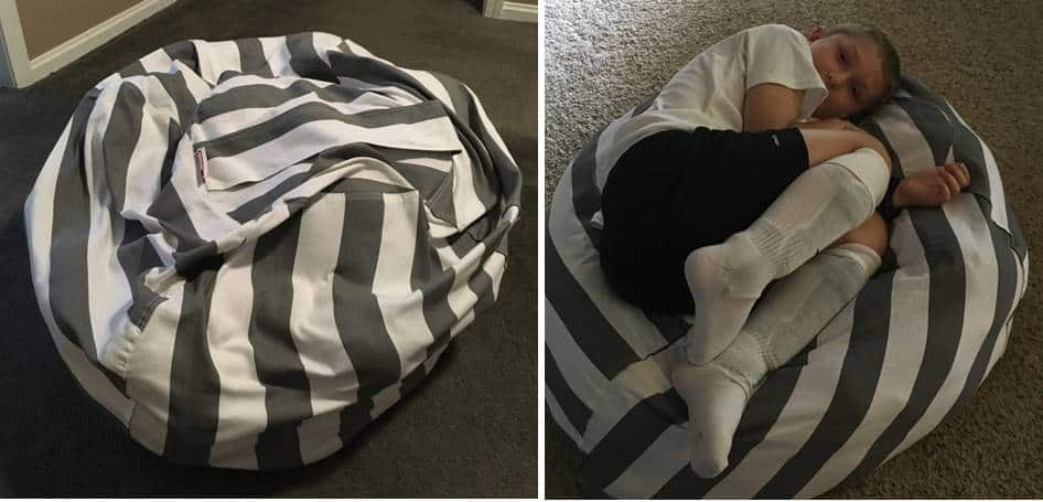 gray and white striped stuffed animal bean bag chair. one picture includes a boy laying on the bean bag chair