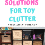 Divided Cube Shelves with tan fabric bins filed with toys
