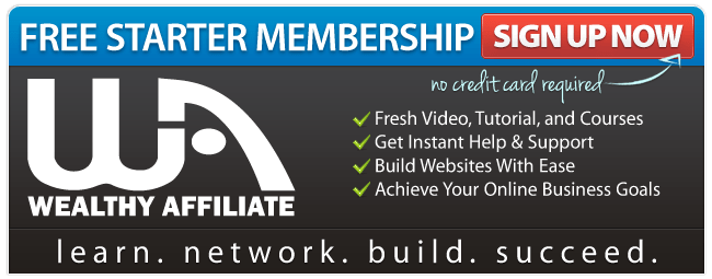 Wealthy Affiliate logo and Sign Up for Free Starter Membership